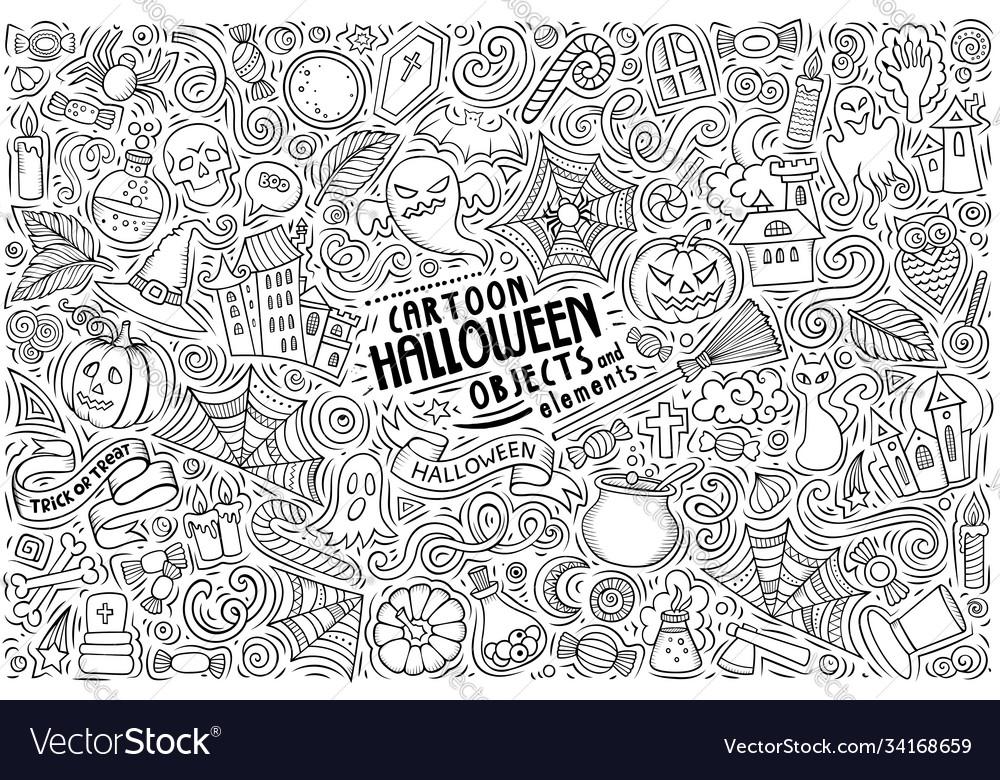 Doodle cartoon set halloween theme objects