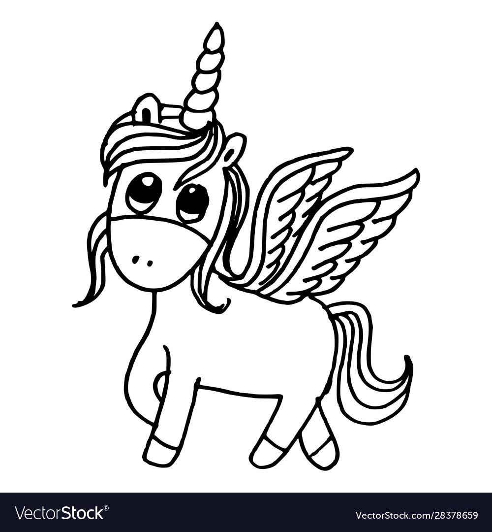 Doodle style hand drawn unicorn isolated on