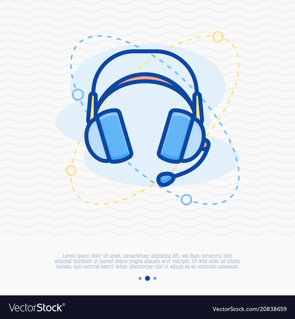 Headset thin line icon modern