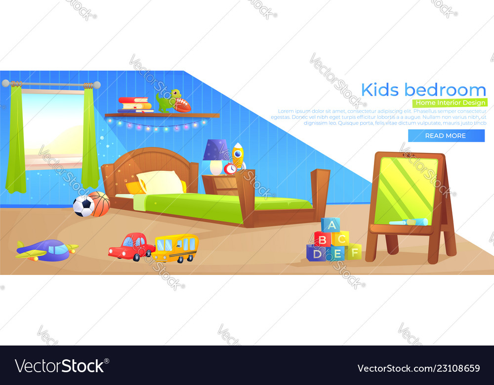 Kid Boy Room Interior Design Banner Royalty Free Vector