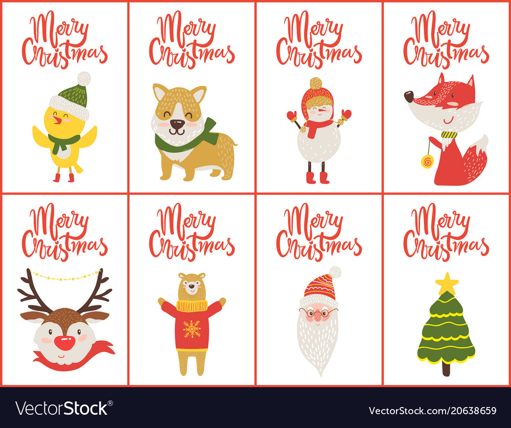 Merry christmas set of banners