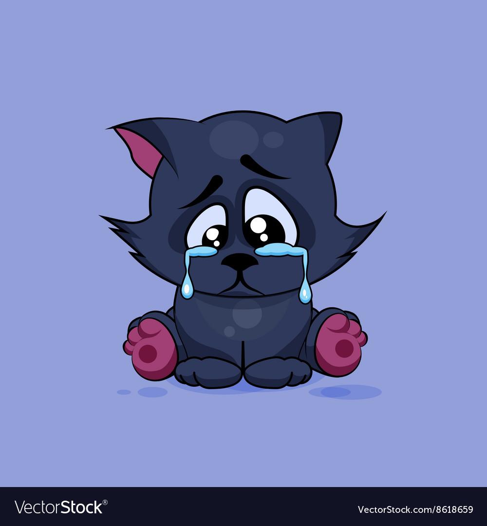 Sad Black cat crying vector image