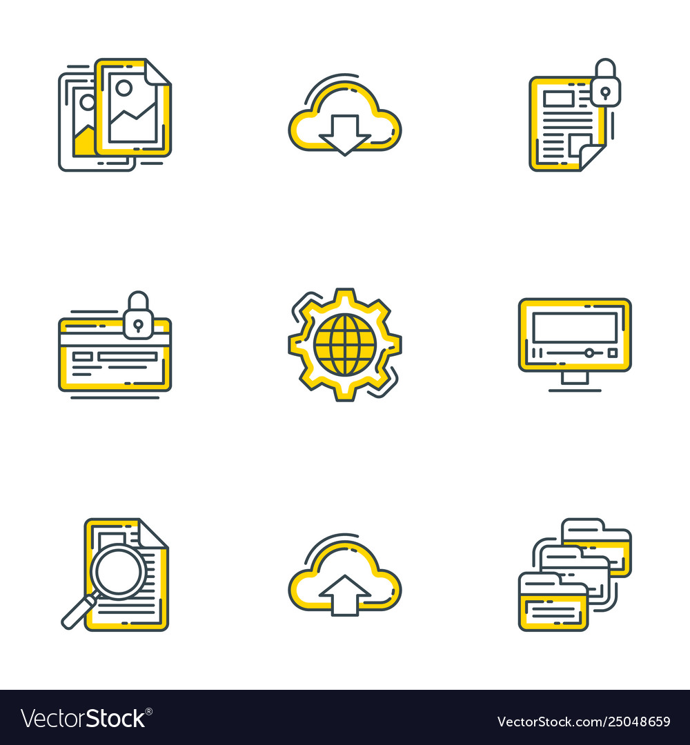 Set 9 flat line business icons flat line vector