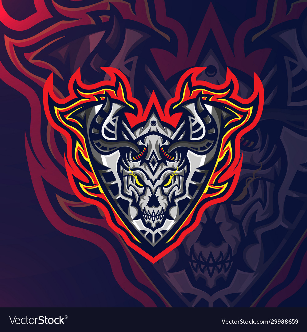 Skull fire sport esport gaming mascot logo
