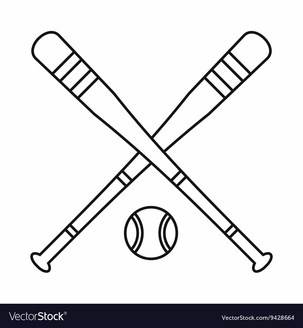 Baseball bat and ball icon outline style vector image