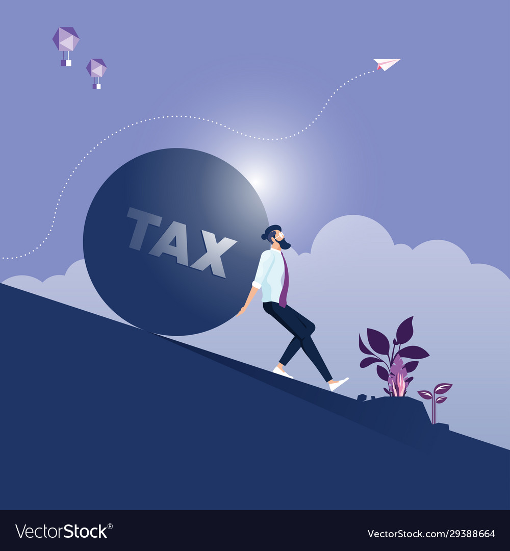 Businessman carrying big stone with tax message