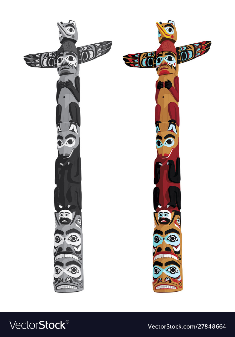 Canadian indigenous wooden totem pole