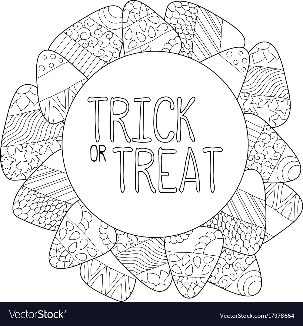 Candy Corn Coloring Page Trick Or Treat Royalty Free Vector