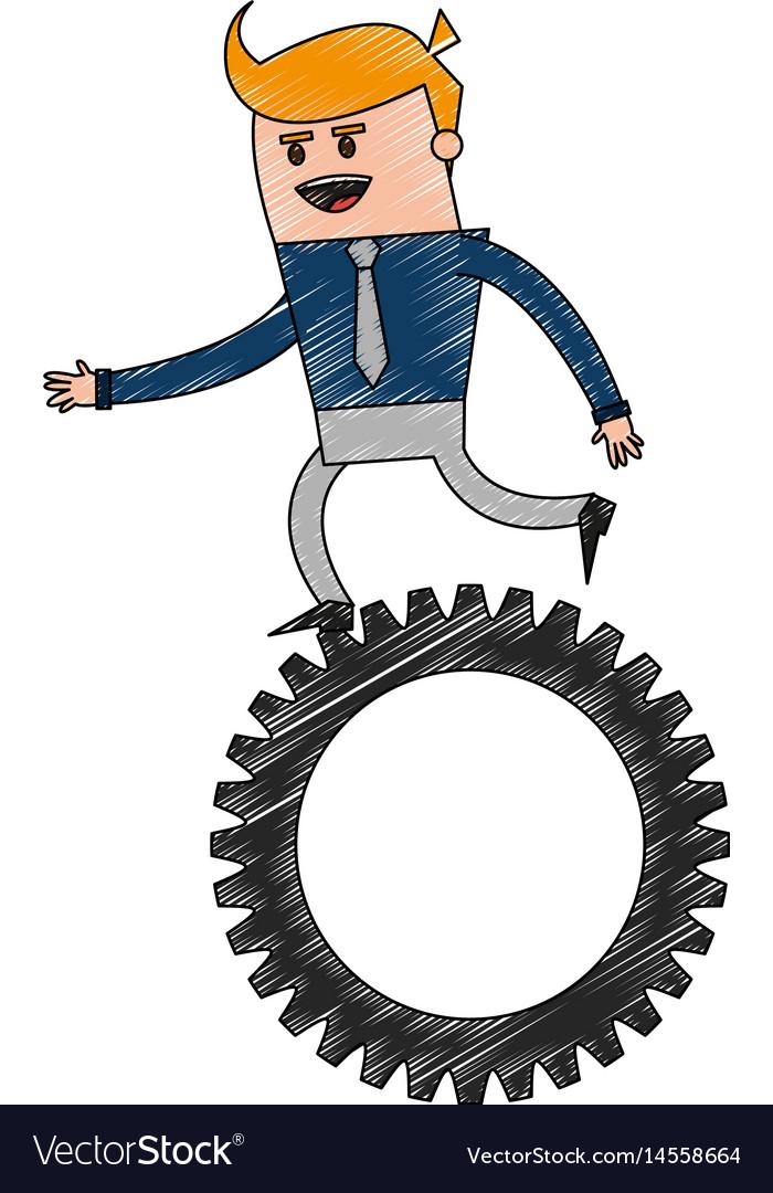 Color pencil cartoon business man riding a gear vector image