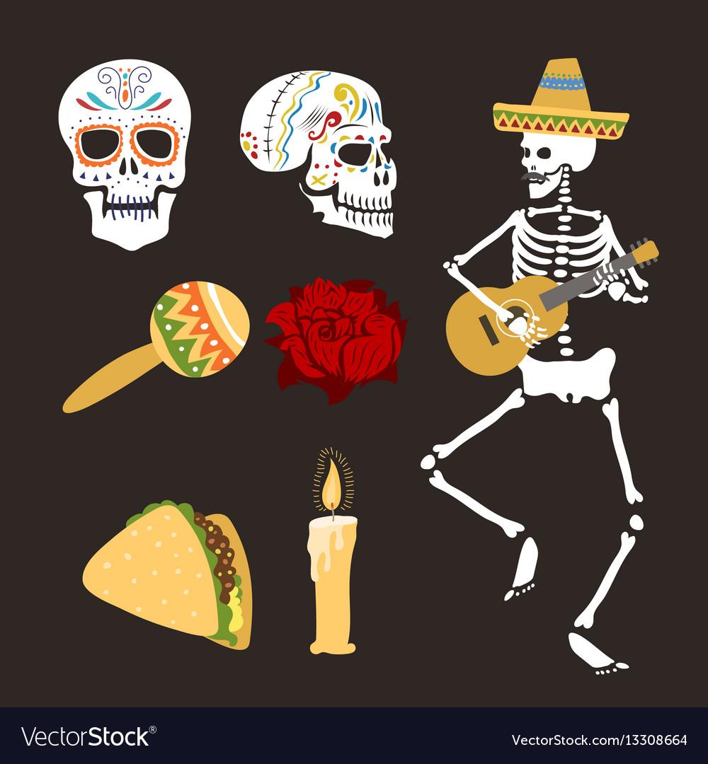 Colorful symbols for dia de los muertos day of the