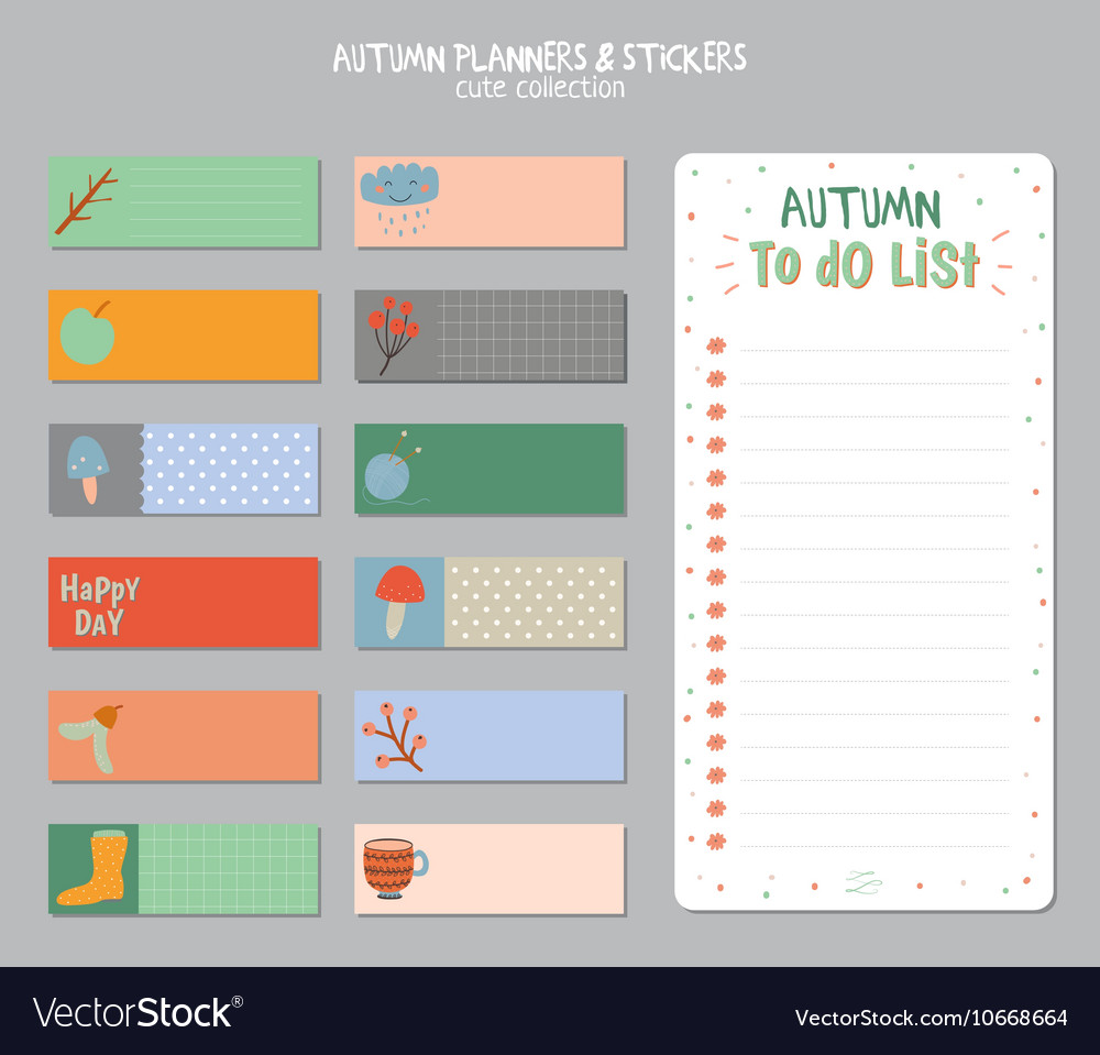 cute daily calendar and to do list template vector image