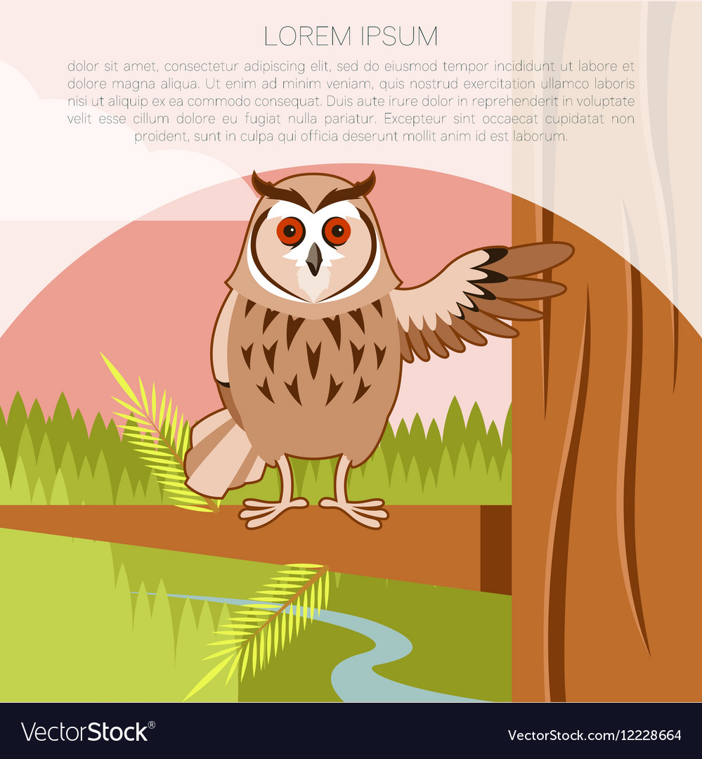 Happy Owl on the Tree flat background