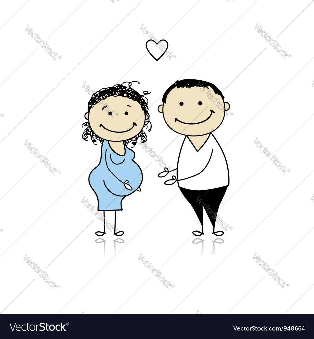 Happy parents waiting for baby pregnancy vector image thecheapjerseys Image collections