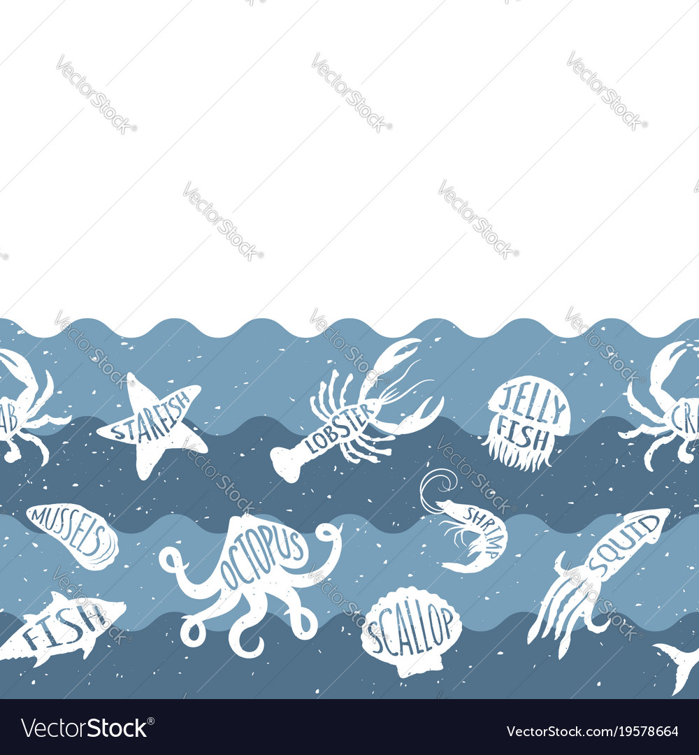 Horizontal repeating pattern with seafood products