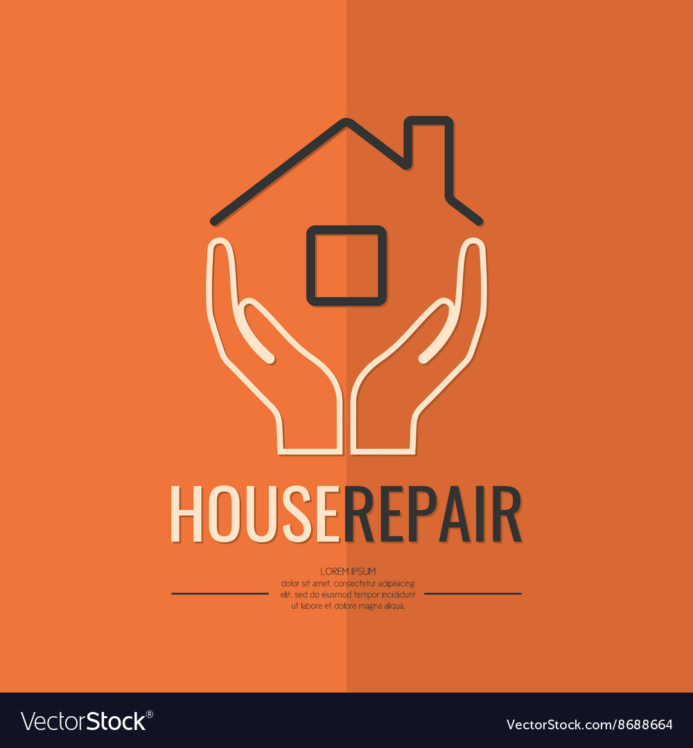 Linear logo home repair vector image