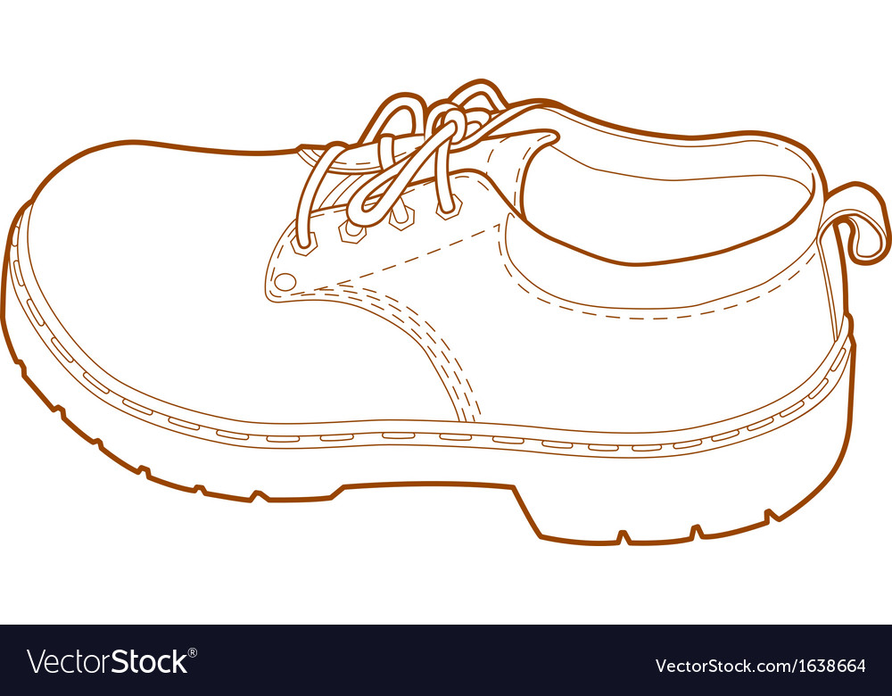 Mans Left Shoe Line Art vector image