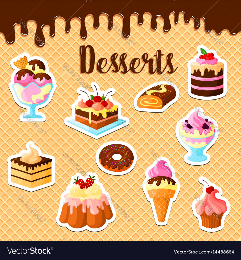 Pastry dessert cakes on waffle poster
