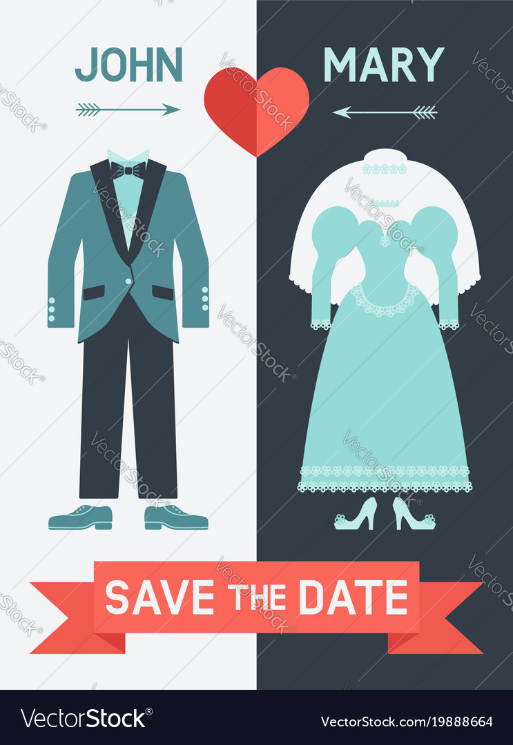 Save the date card with bride dress and groom suit
