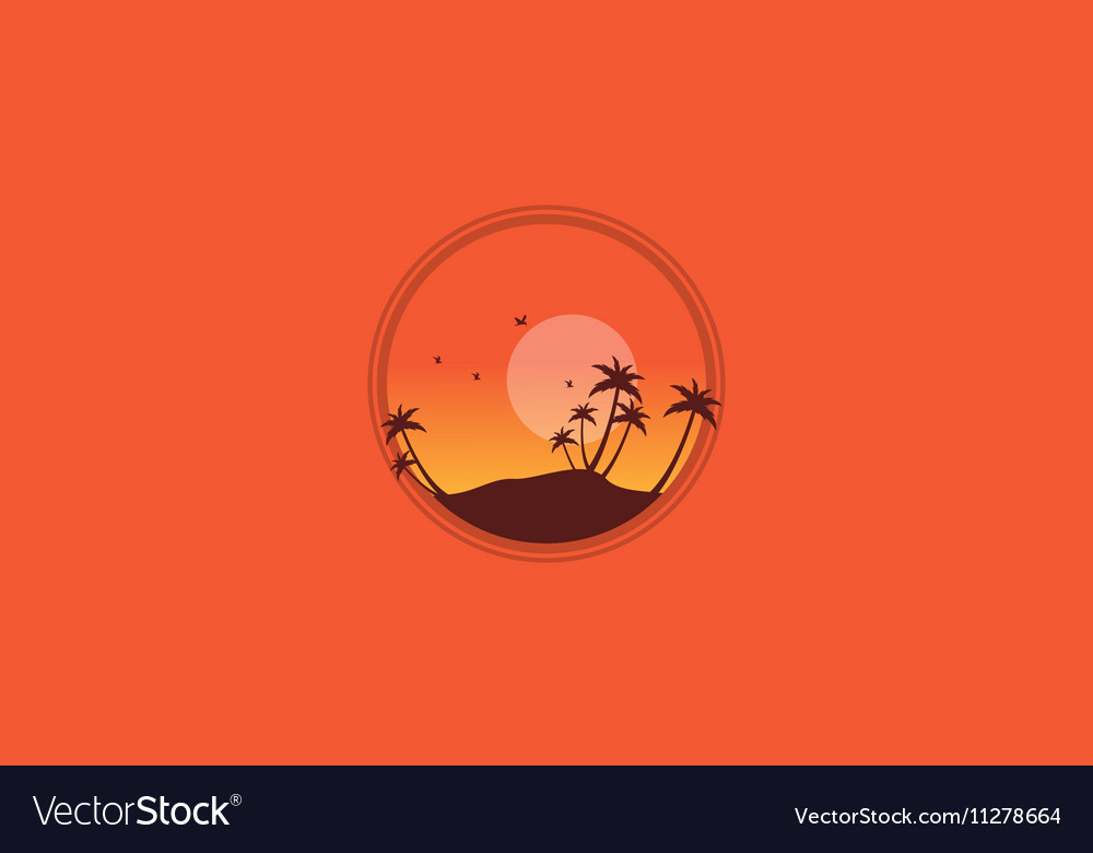 Silhouette of palm and many bird scenery vector image