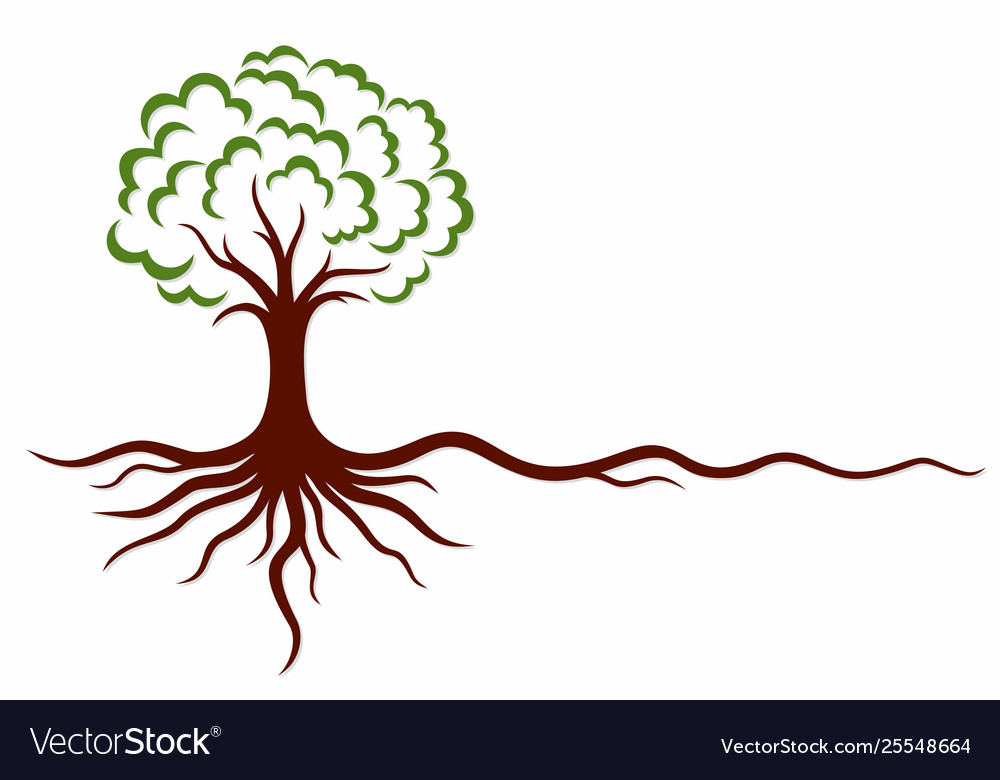 Tree symbol with roots