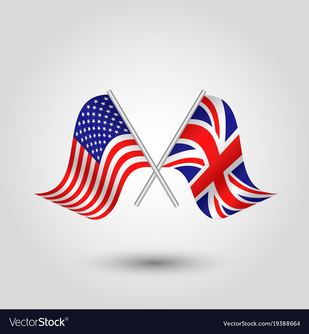 Two crossed american and british flags