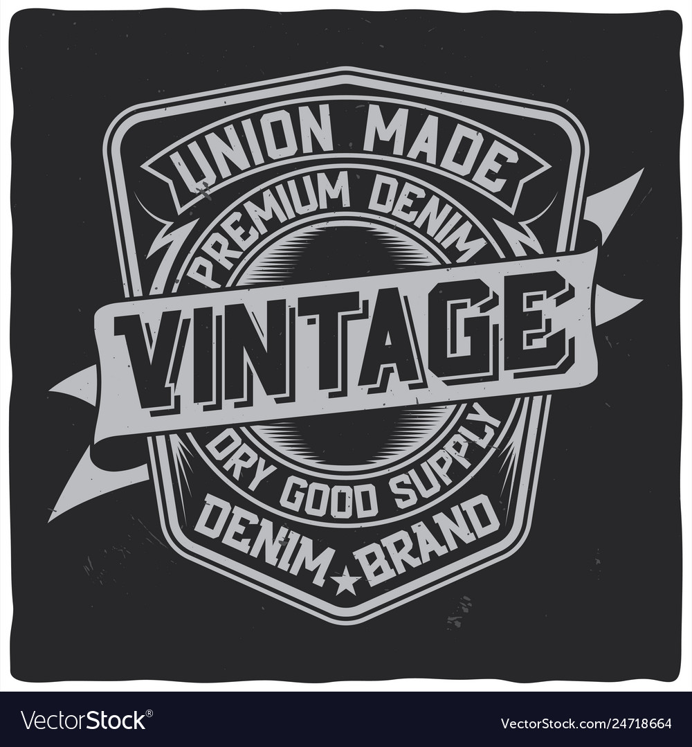 Vintage label design with lettering composition