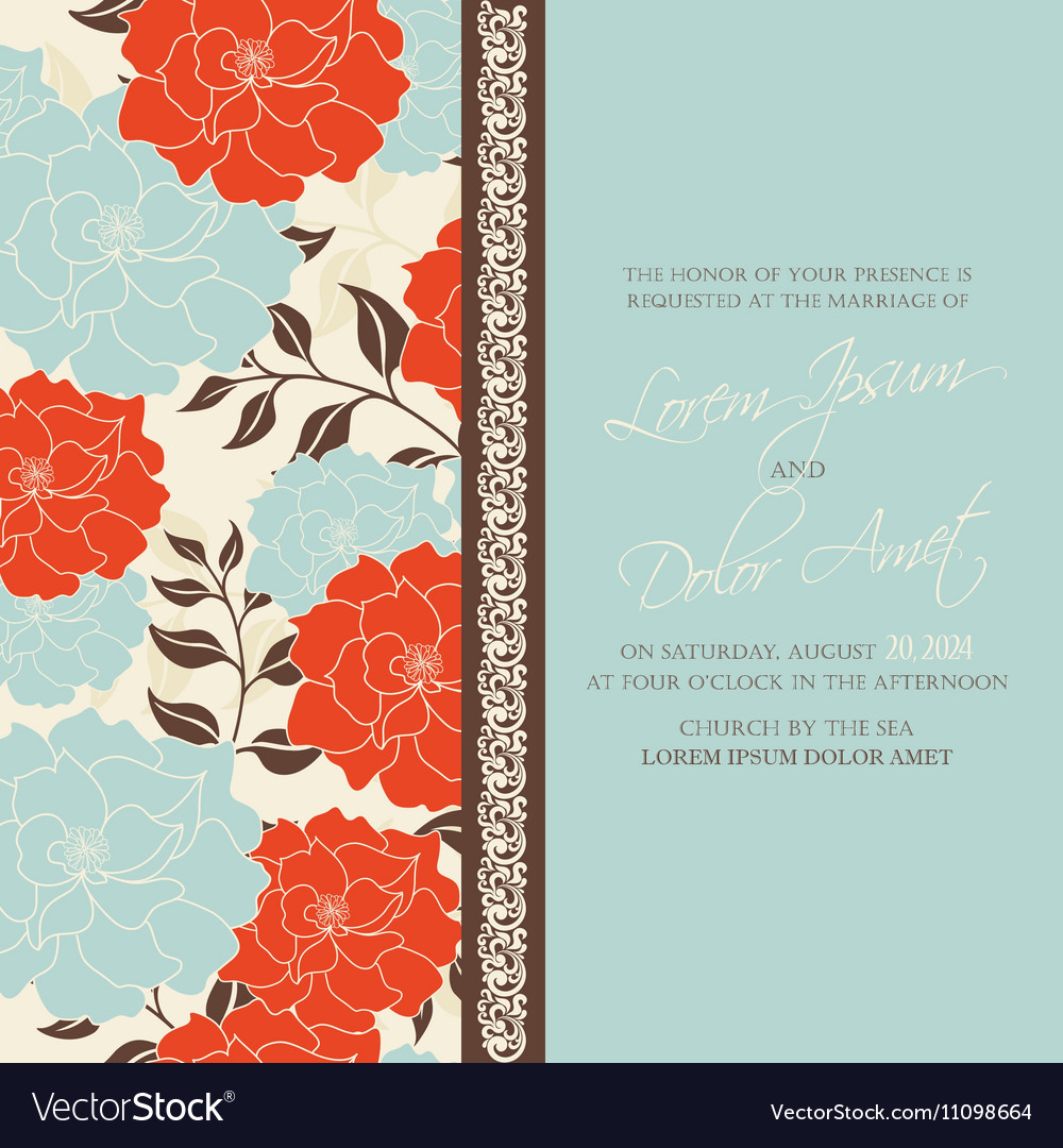 Wedding invitation card with flowers Royalty Free Vector