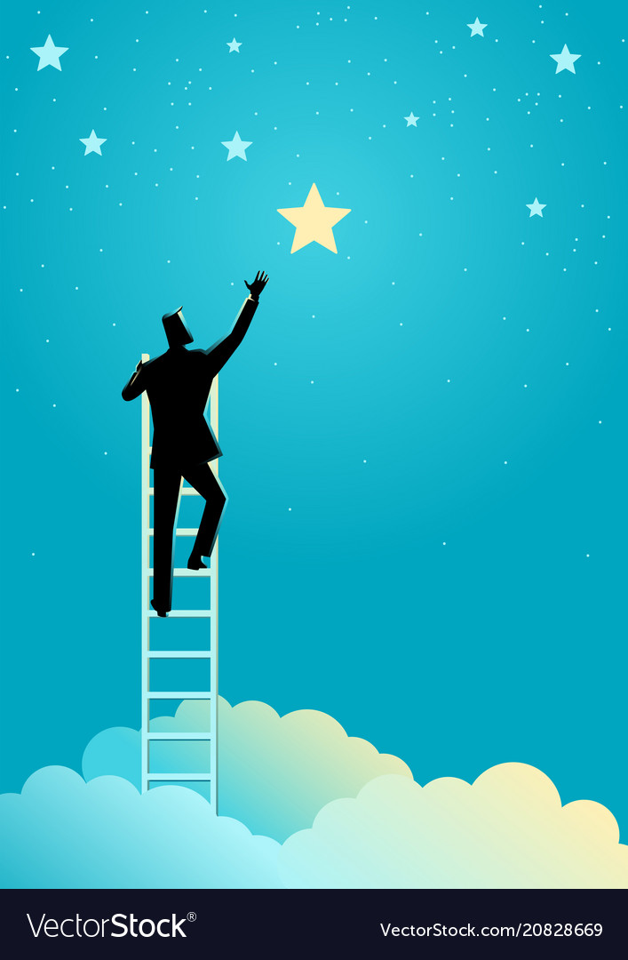 Businessman reach out for the stars