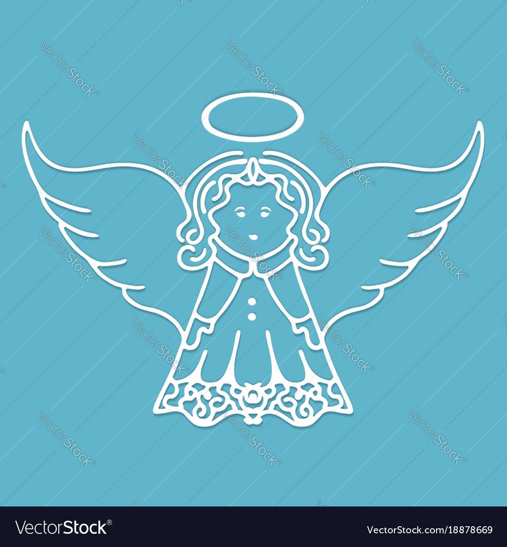 Christmas angel with wings and a halo cut from