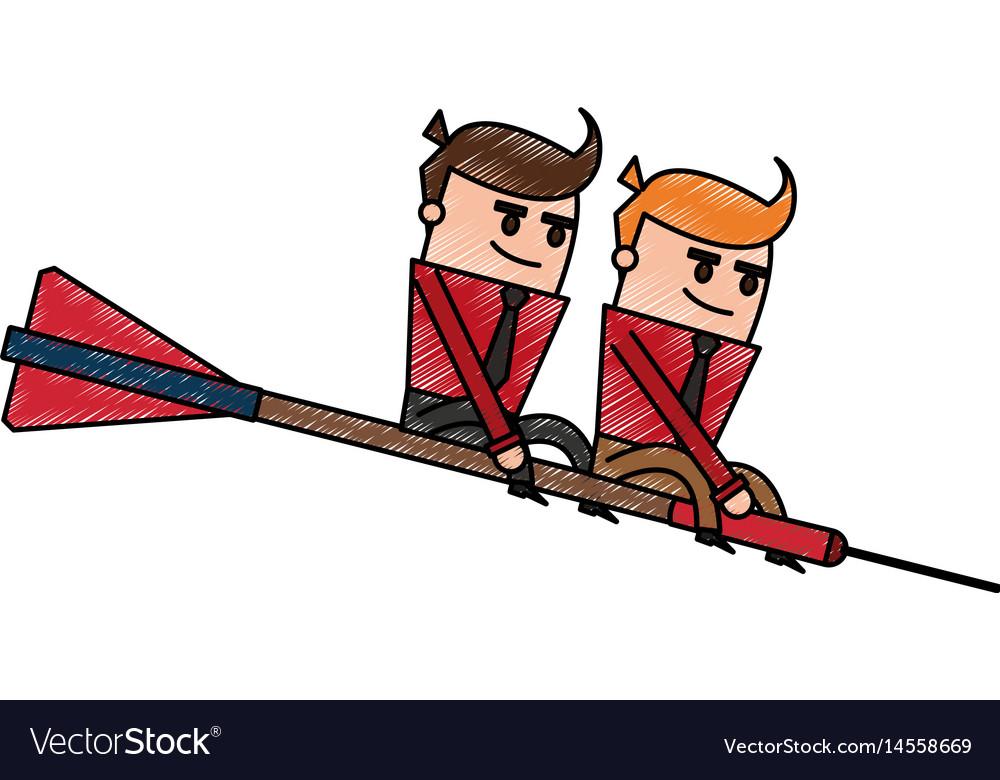 Color pencil cartoon teamwork riding an arrow to