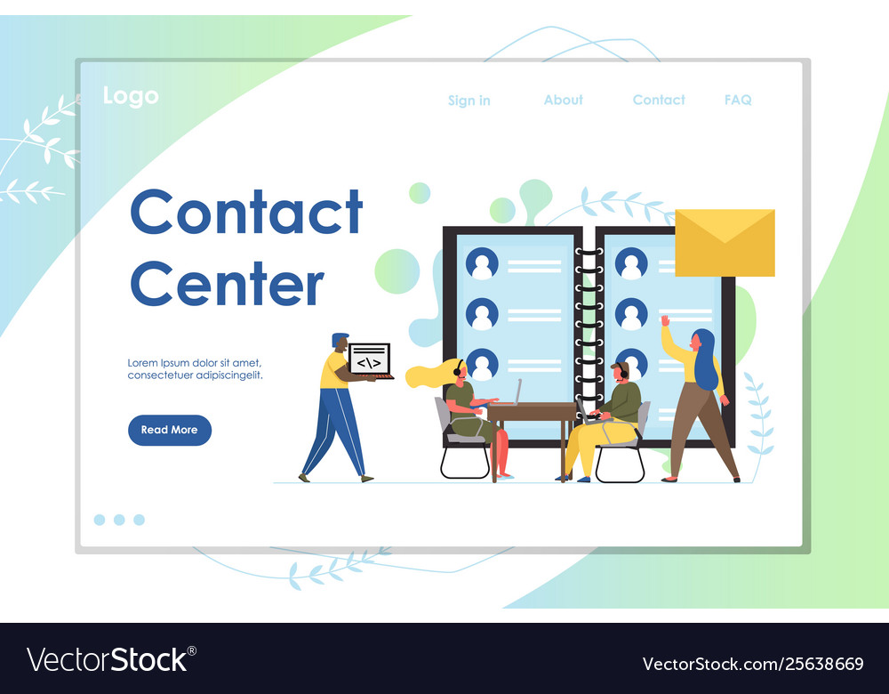 Contact center website landing page design
