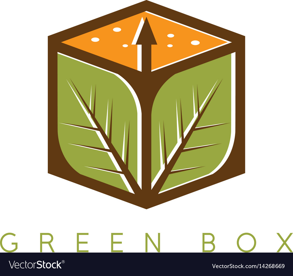 Design template of the box with leaves