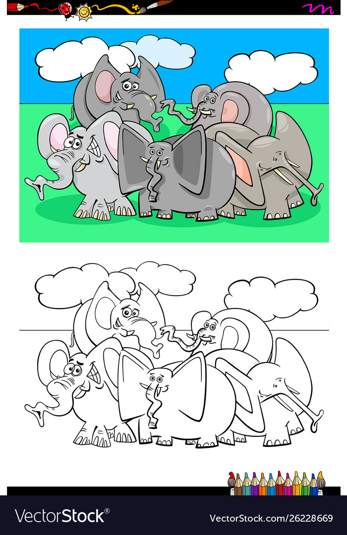 Elephants animal characters group color book