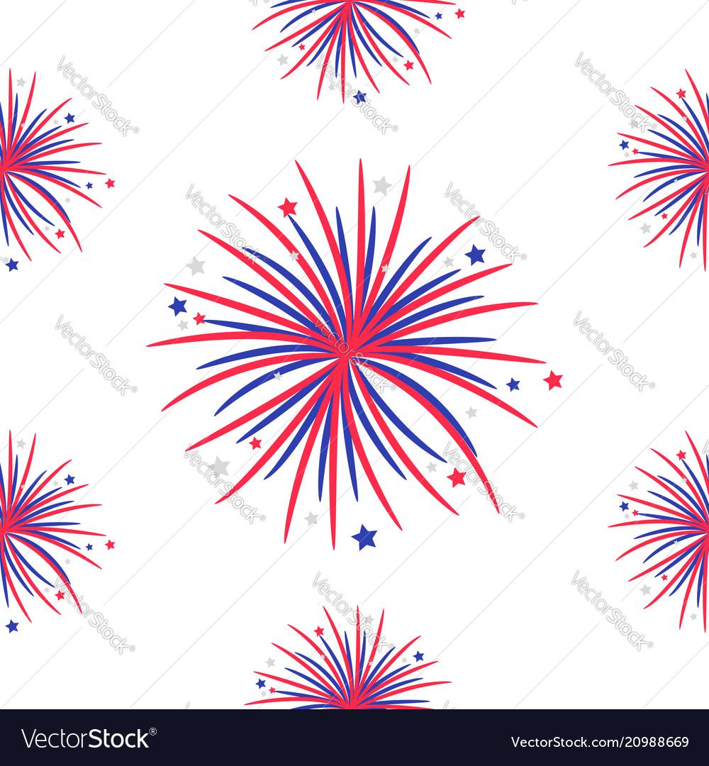 Seamless pattern fireworks night sky happy