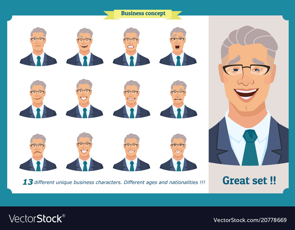 Set of male facial emotionsface expressions