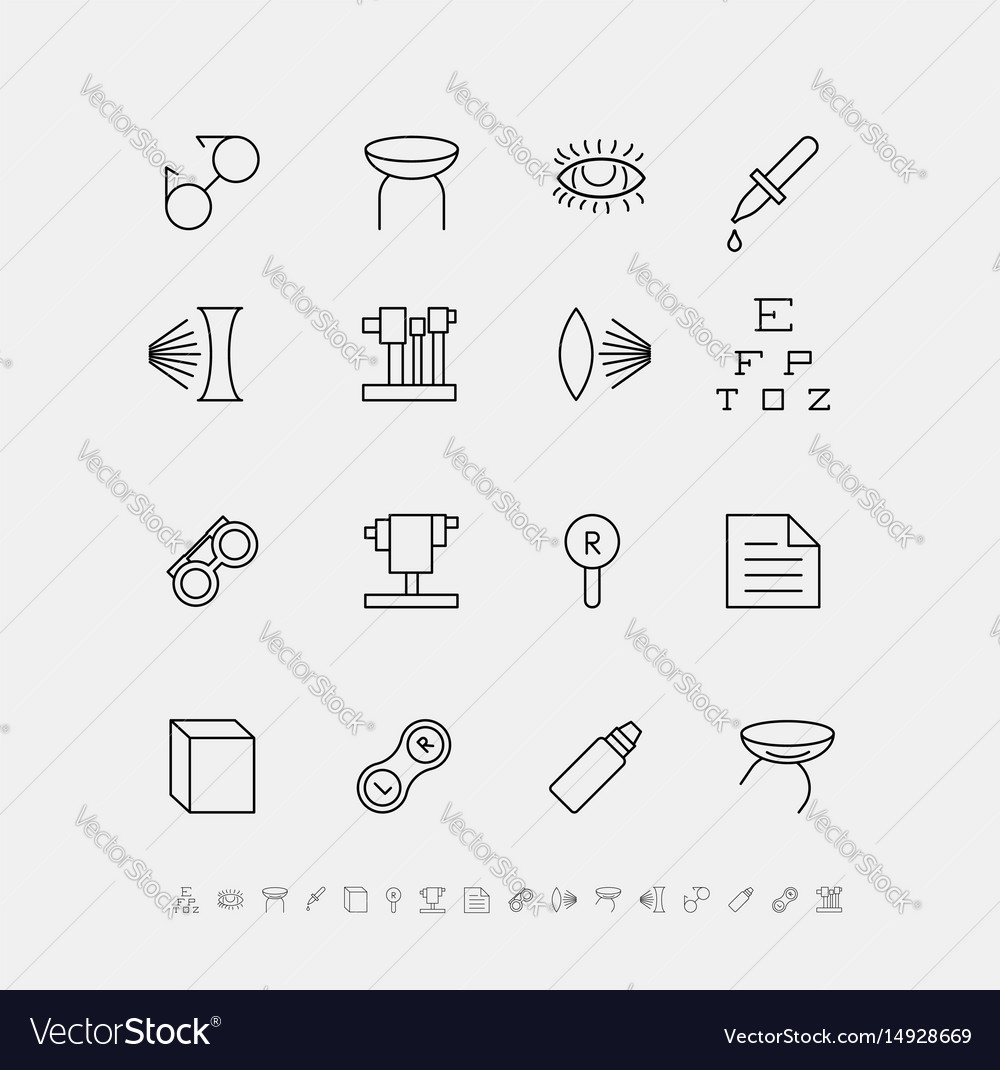 Set of medical icons for ophthalmology