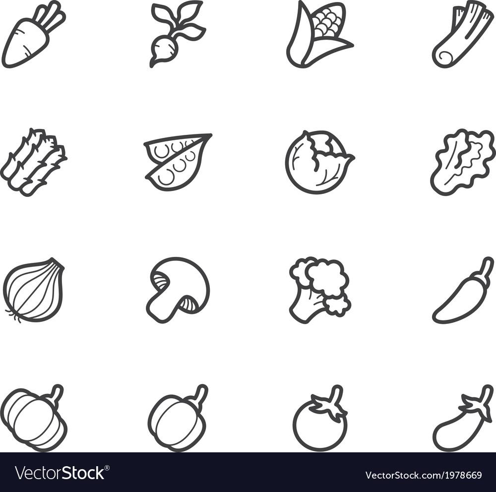 Vegetable icon set on white background