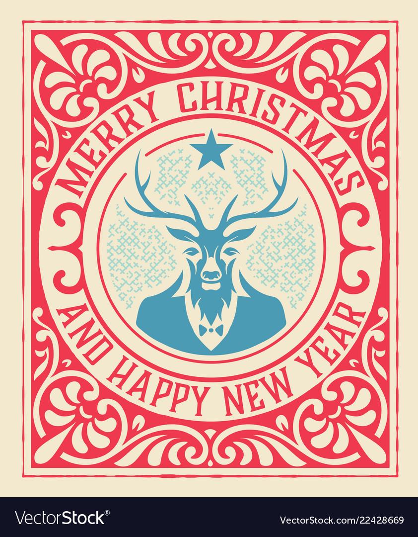 Xmas vintage greeting card with deer