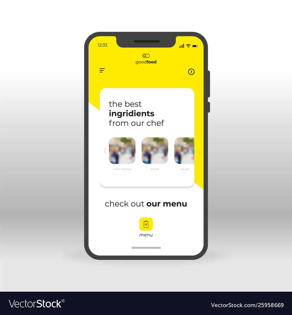 Yellow food ingridients ui ux gui screen for