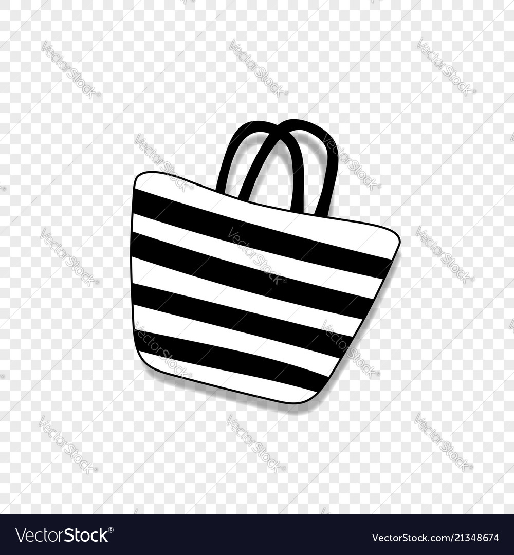 Beach striped womens bag icon isolated on