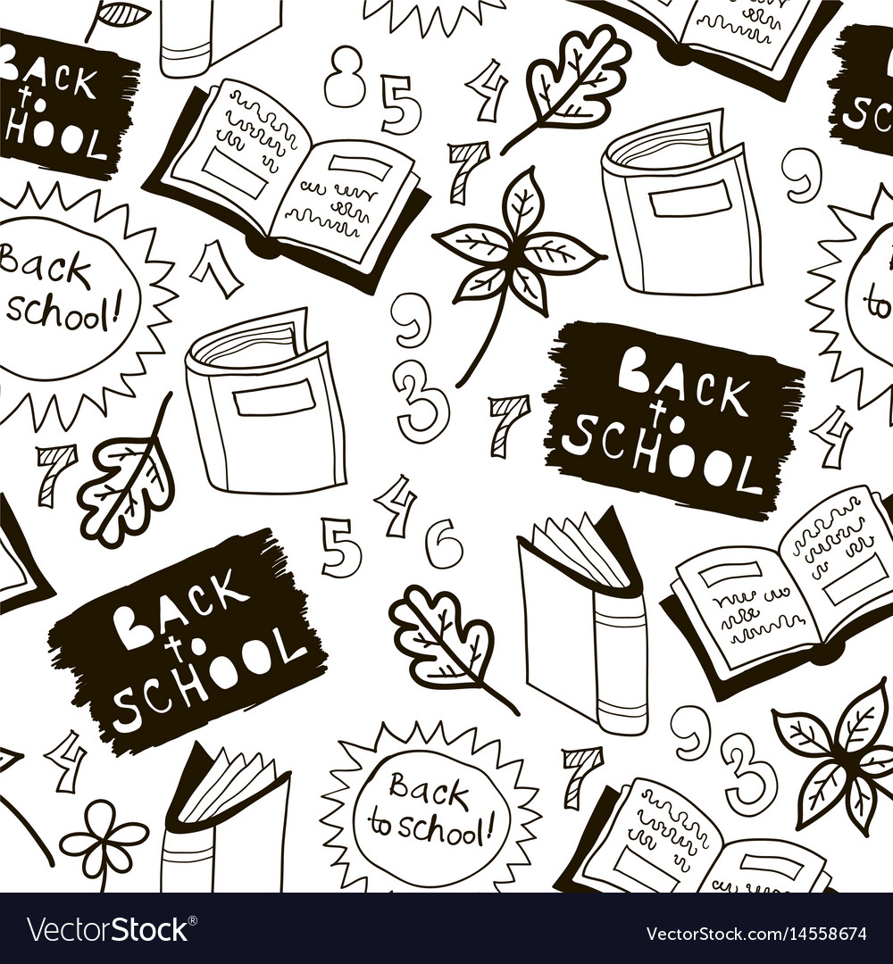 Black and white school doodle pattern