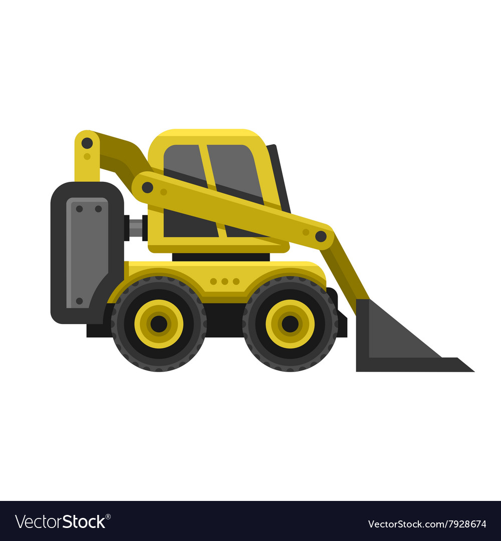 Bobcat Machine Icon Flat Style Design Royalty Free Vector