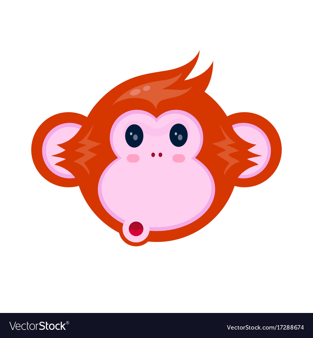 Cute happy monkey kid face portrait vector image