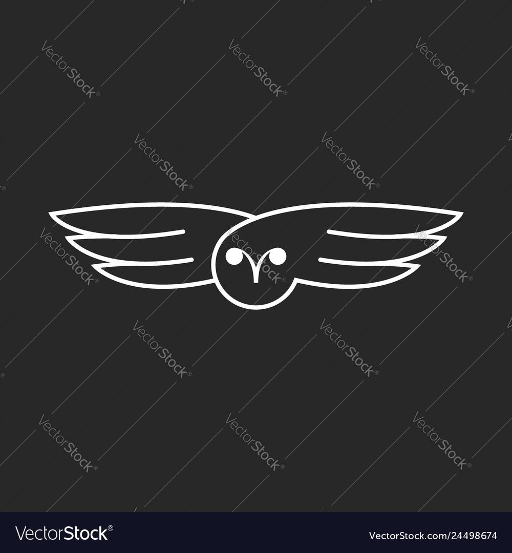 Flying owl logo creative linear design bird