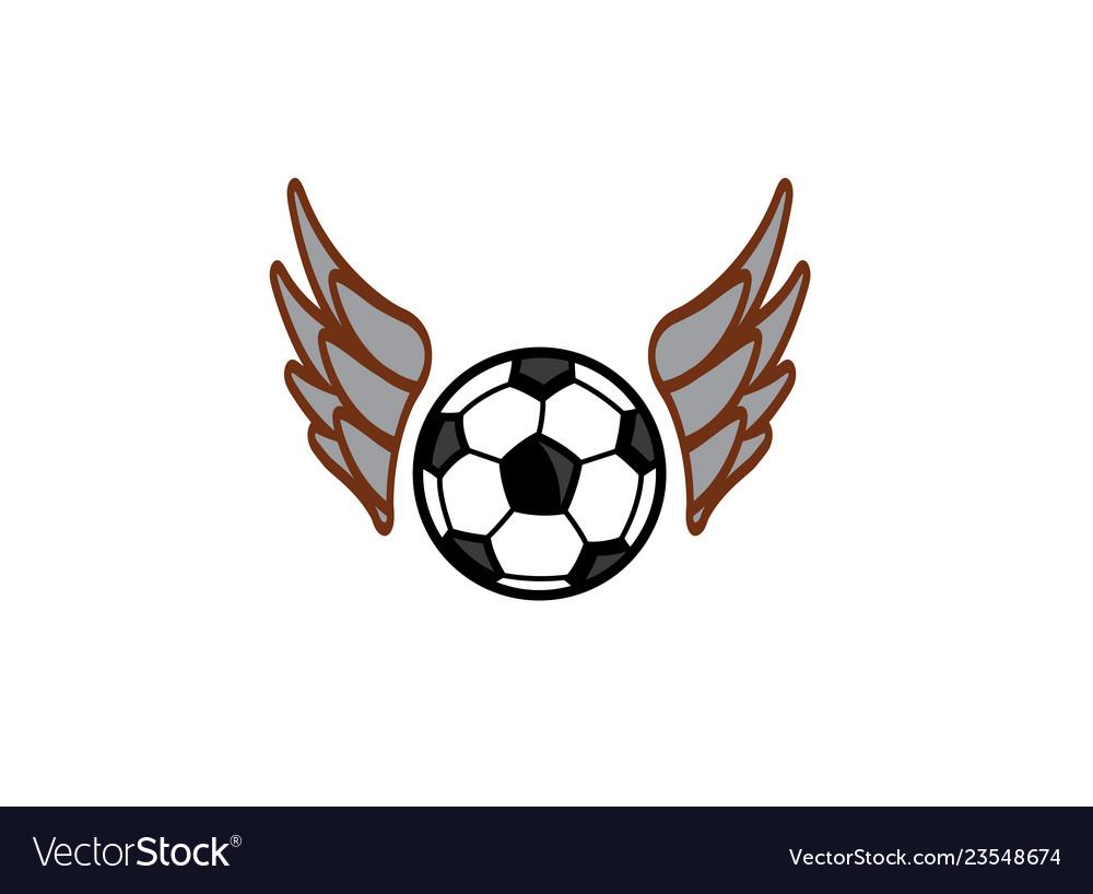 Football wings fly logo design symbol