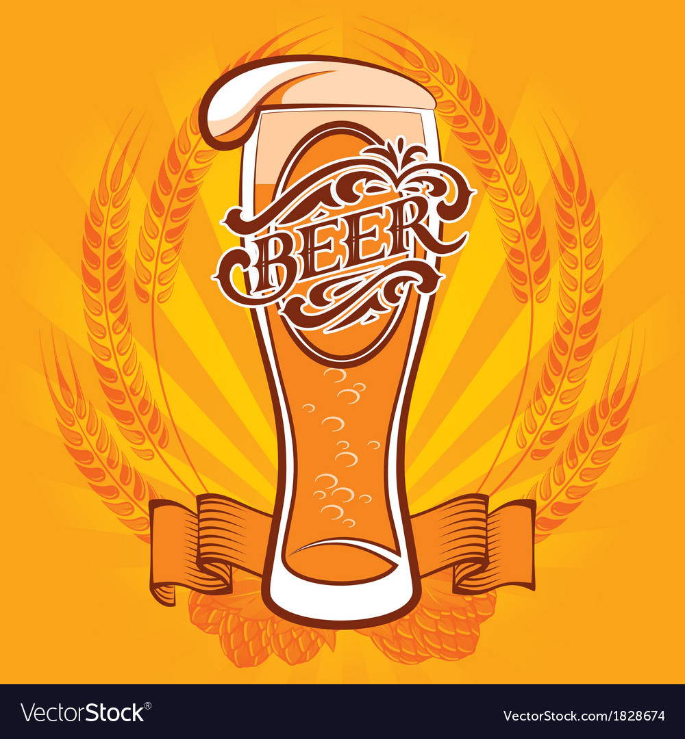 Glass of beer on a yellow background vector image