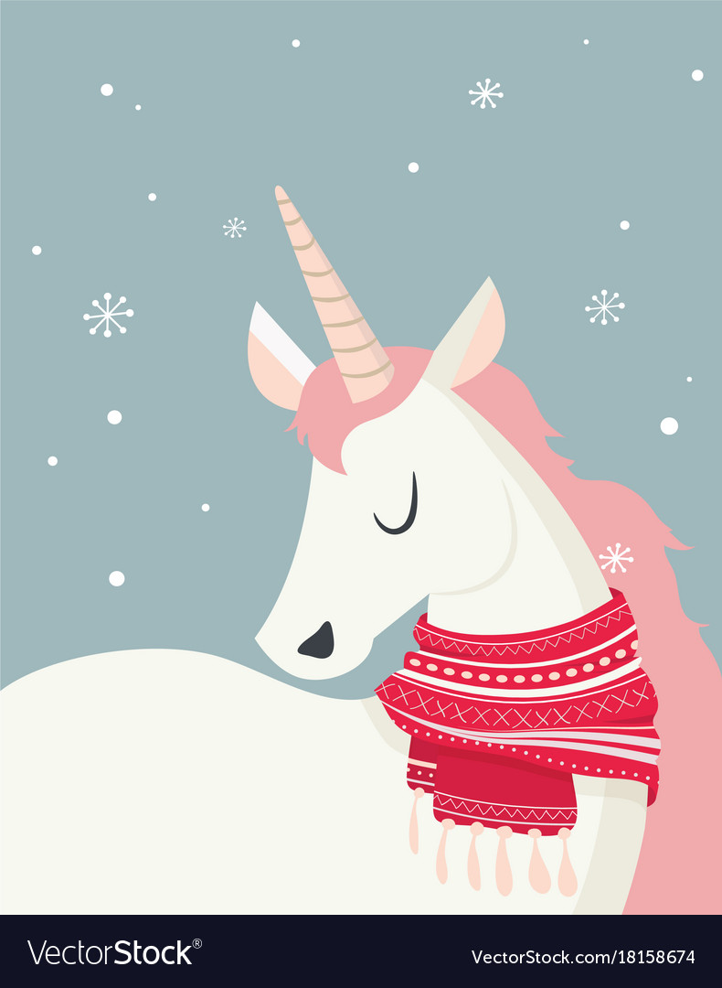 Magical unicorn at winter scine merry christmas