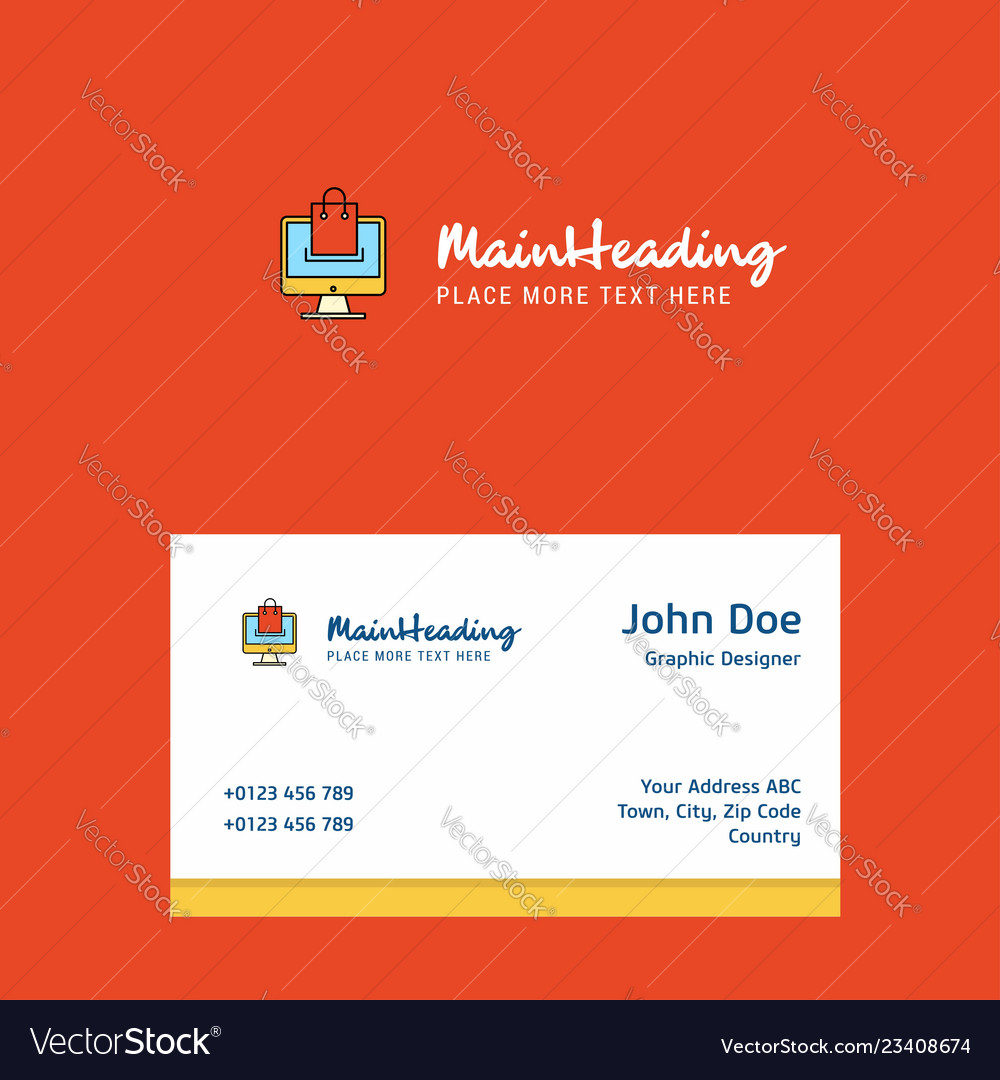 Online shopping logo design with business card