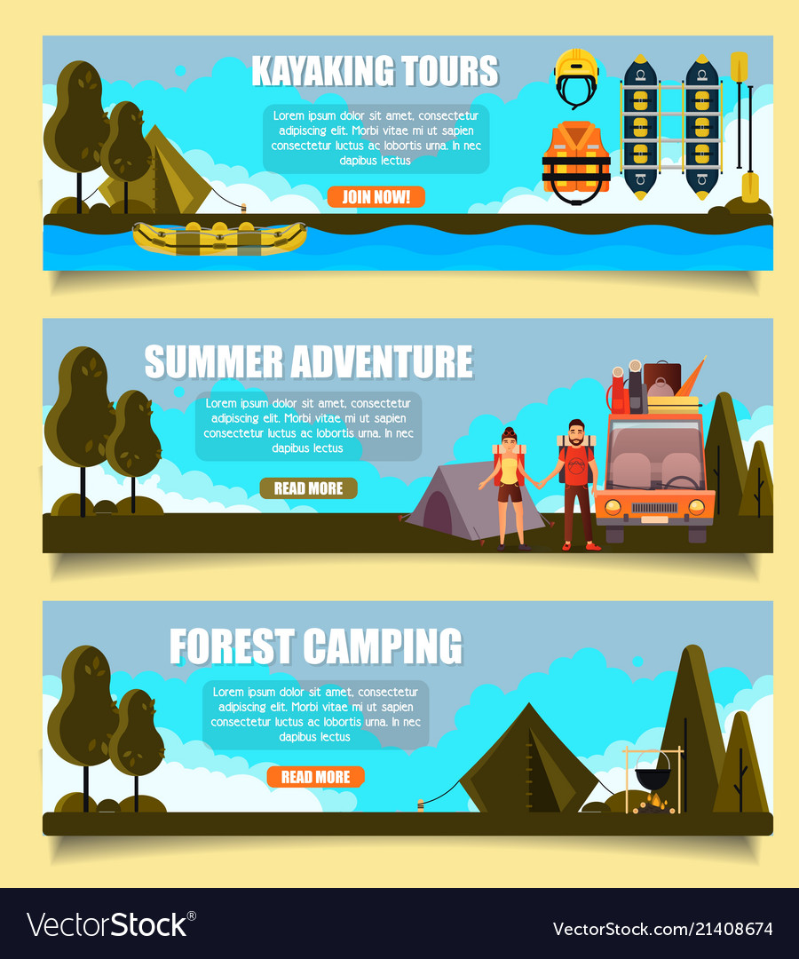 Outdoor adventure banners web templates