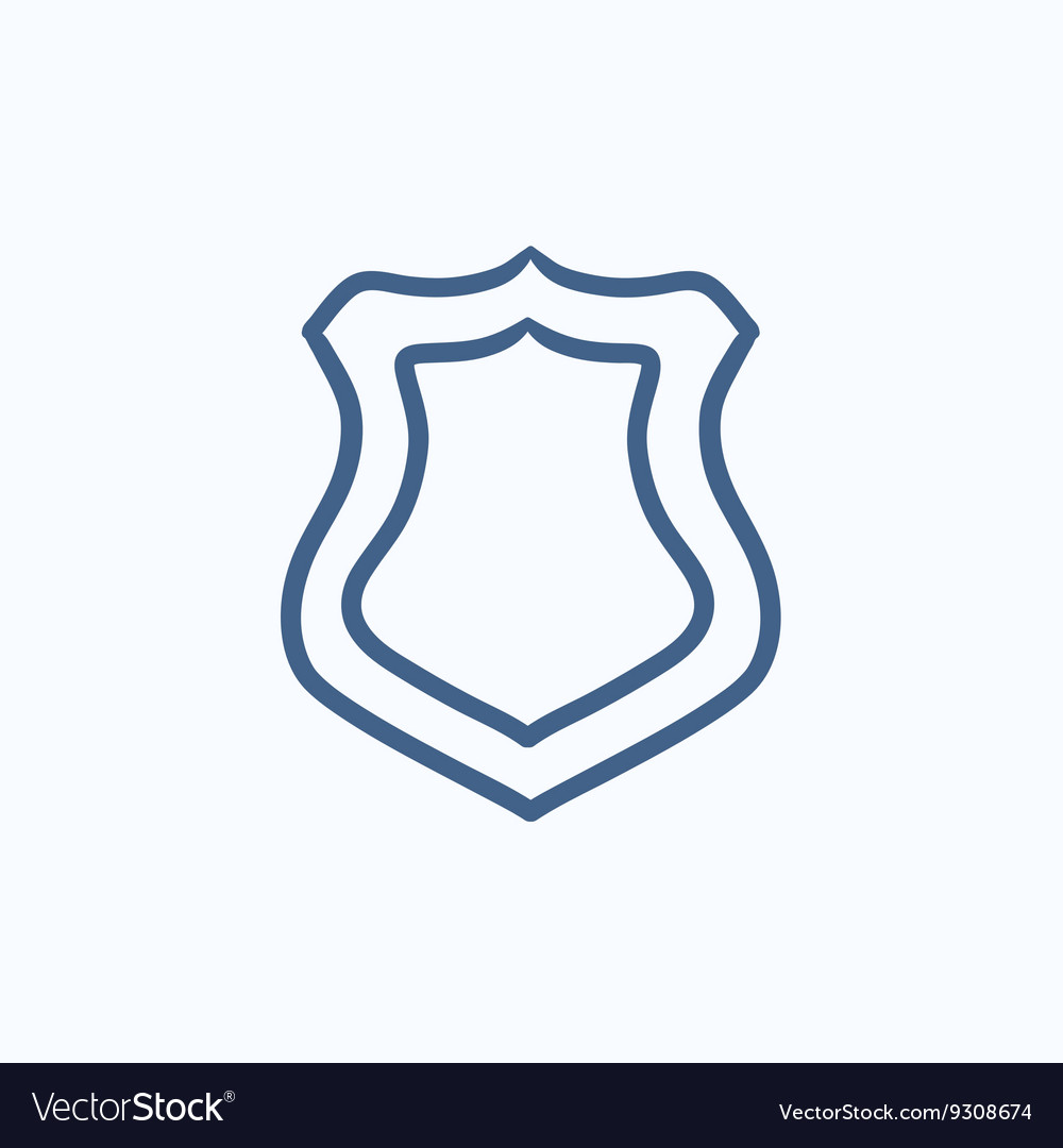 Police badge sketch icon